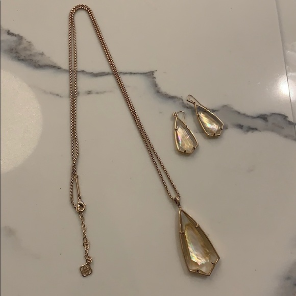 Kendra Scott Rose gold necklace and earrings